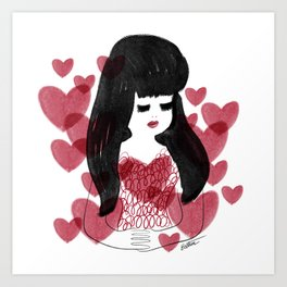 Hearts and hair Art Print