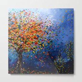 Fall Trees with Leaves Blowing in the Wind by annmariescreations Metal Print