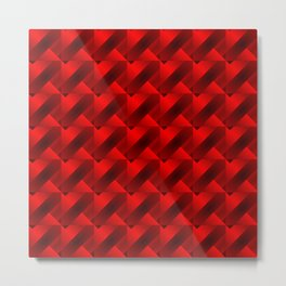 Fashionable large stripes from small red intersecting squares in a gradient cage. Metal Print