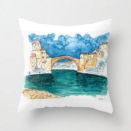 Stari Most Herzegovina Sketch Throw Pillow