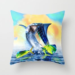 Jumping blue Marlin Chasing Bull Dolphins Throw Pillow