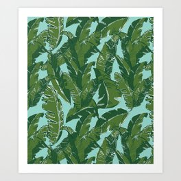Leaves Bananique in Aqua Sea Art Print