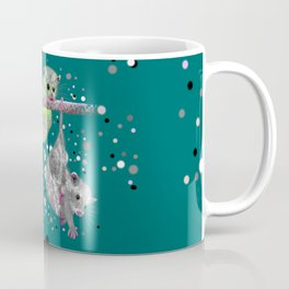Green possum trio on a branch - Teal Coffee Mug