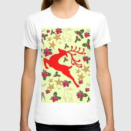 DECORATIVE LEAPING RED DEER  & HOLY BERRIES CHRISTMAS  ART T-shirt