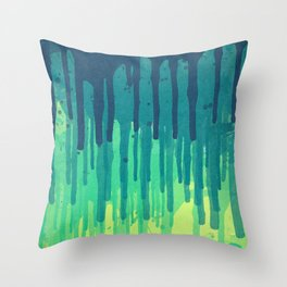 Green Grunge Color Splatter Graffiti Backstreet Wall Background Throw Pillow