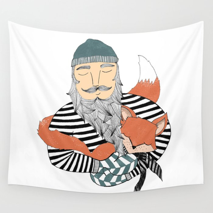 Man and fox. Wall Tapestry