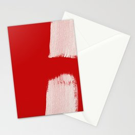 brush stroke white in christmas red Stationery Cards