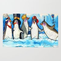 penguins Area & Throw Rugs featuring penguins by oxana zaika