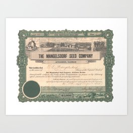 Mangelsdorf Seed Company Stock Certificate Art Print