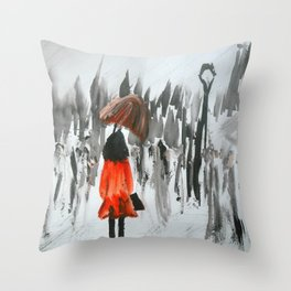 The Girl In The Red Rain Coat (Part 3)  Fine Art Acrylic Painting Throw Pillow