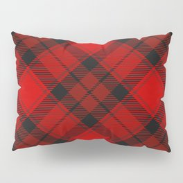Red Tartan with Diagonal Dark Red and Black Stripes Pillow Sham