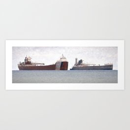 Great Lakes Freighters Art Print