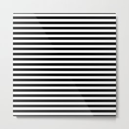 Midnight Black and White Horizontal Deck Chair Stripes Metal Print