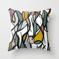 kandinsky Throw Pillows featuring Geometric Abstract Watercolor Ink by Ashley Grebe
