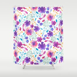 Colouful Watercolour Floral Pattern Shower Curtain