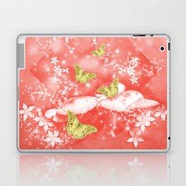 Gold butterflies in magical mushroom landscape Laptop & iPad Skin
