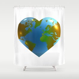 Globe in the shape of heart Shower Curtain
