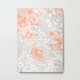 Coral And Grey Petunias Metal Print