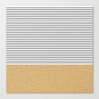 gold glitter Canvas Prints featuring Minimal Gold Glitter Stripes by Allyson Johnson