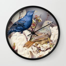 Bowerbirds and Magnolias Wall Clock