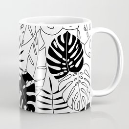 black and white tropical minimal leaves poster Coffee Mug