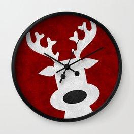 Christmas reindeer red marble Wall Clock