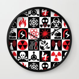 Hazard Danger Icons Wall Clock