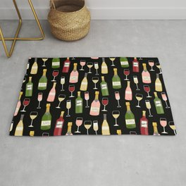 Rose drinks champagne wine bar art food fight apparel and gifts Rug