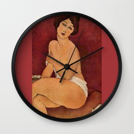 Amedeo Modigliani - Nude Sitting on a Divan Wall Clock