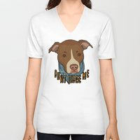 pit bull V-neck T-shirts featuring Pit bull Pride by Sara Robish Andrews