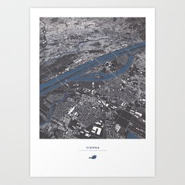 Vienna City Map Art Print