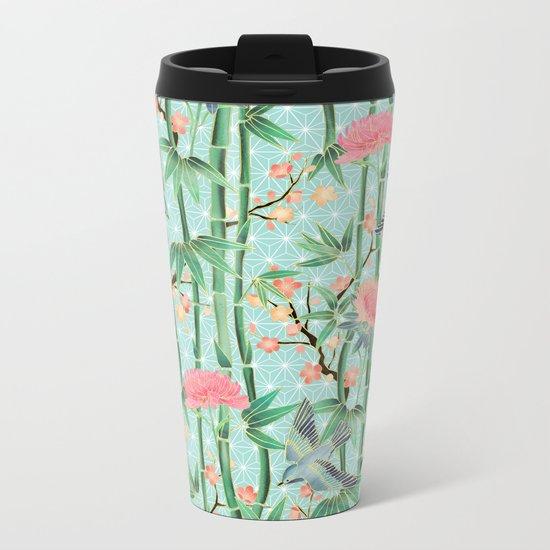 Bamboo, Birds and Blossom - soft blue green Metal Travel Mug