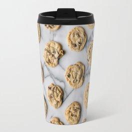 Chocolate Chip Cookies Marble Background Travel Mug