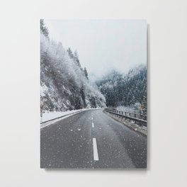 Snowy Mountain Roads Metal Print