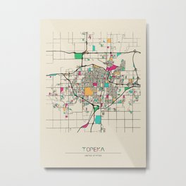 Colorful City Maps: Topeka, Kansas Metal Print