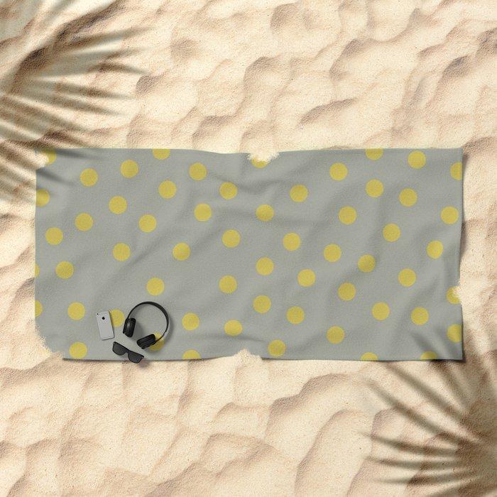 Simply Dots Mod Yellow on Retro Gray Beach Towel