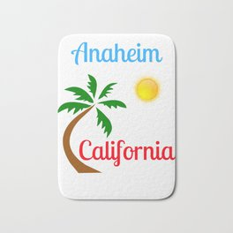 Anaheim California Palm Tree and Sun Bath Mat