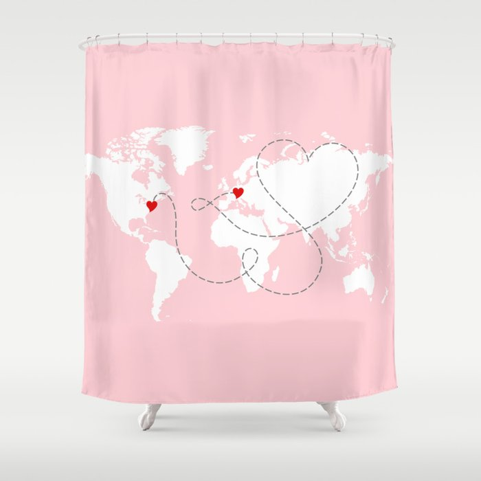 World map in pink usa to europe new york to germany shower world map in pink usa to europe new york to germany shower curtain gumiabroncs Images