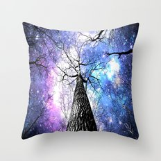 Wintry Trees Purple Blue Space  Throw Pillow