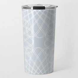 spirograph inspired pattern in white and a pale icy gray Travel Mug