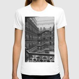 Bradbury Building, Los Angeles Romanesque Revival ornate wrought iron work and skylit atrium  T-shirt