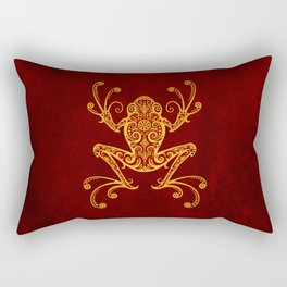Intricate Red and Yellow Tree Frog Rectangular Pillow