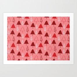 Christmas Tree Red and Pink Art Print