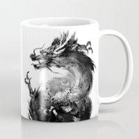 dragon Mugs featuring Dragon by Jonathan Keuchkarian