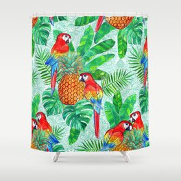 Pineapples and Parrots Tropical Summer Pattern Shower Curtain