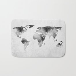 World Map - Hammered Metallic Monochrome Bath Mat