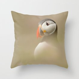 Portrait of Puffin Throw Pillow