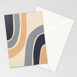 Abstract Shapes 51 in Desert mist Ultimate grey Inkwell Buttercream (Rainbow Abstraction) Stationery Cards