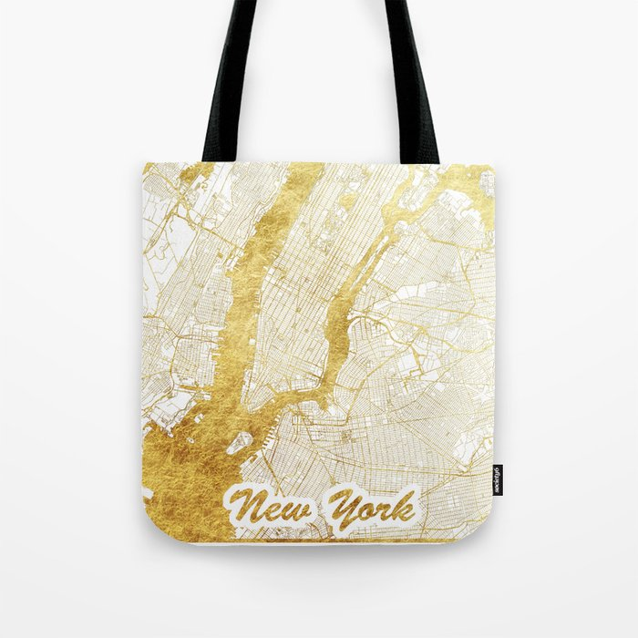 New York Map Gold Tote Bag