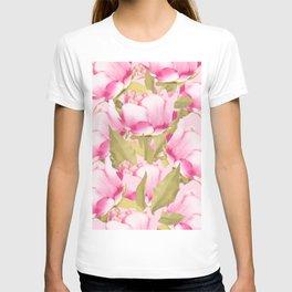 Pink Peonies on a pink background - #Sociey6 #buyart T-shirt
